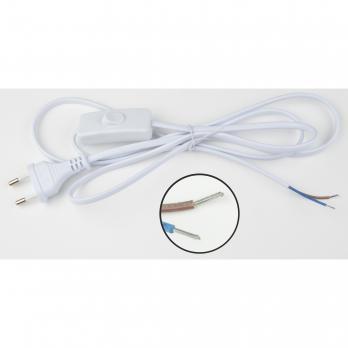 UCX-C10-01A-170 WHITE Сетевой шнур с вилкой и выключателем. 1А. 250Вт. 1.7м. Белый. ТМ Uniel