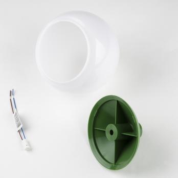 UFP-R120-N64-G4 OPAL-GREEN Комплект для изготовления декоративного светильника: рассеиватель опал D120мм. основание с переходником на трубу D20мм. патрон G4. Зеленый. TM Uniel