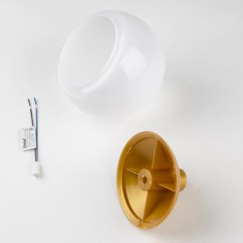 UFP-R120-N64-G4 OPAL-GOLD Комплект для изготовления декоративного светильника: рассеиватель опал D120мм. основание с переходником на трубу D20мм. патрон G4. Золотой. TM Uniel